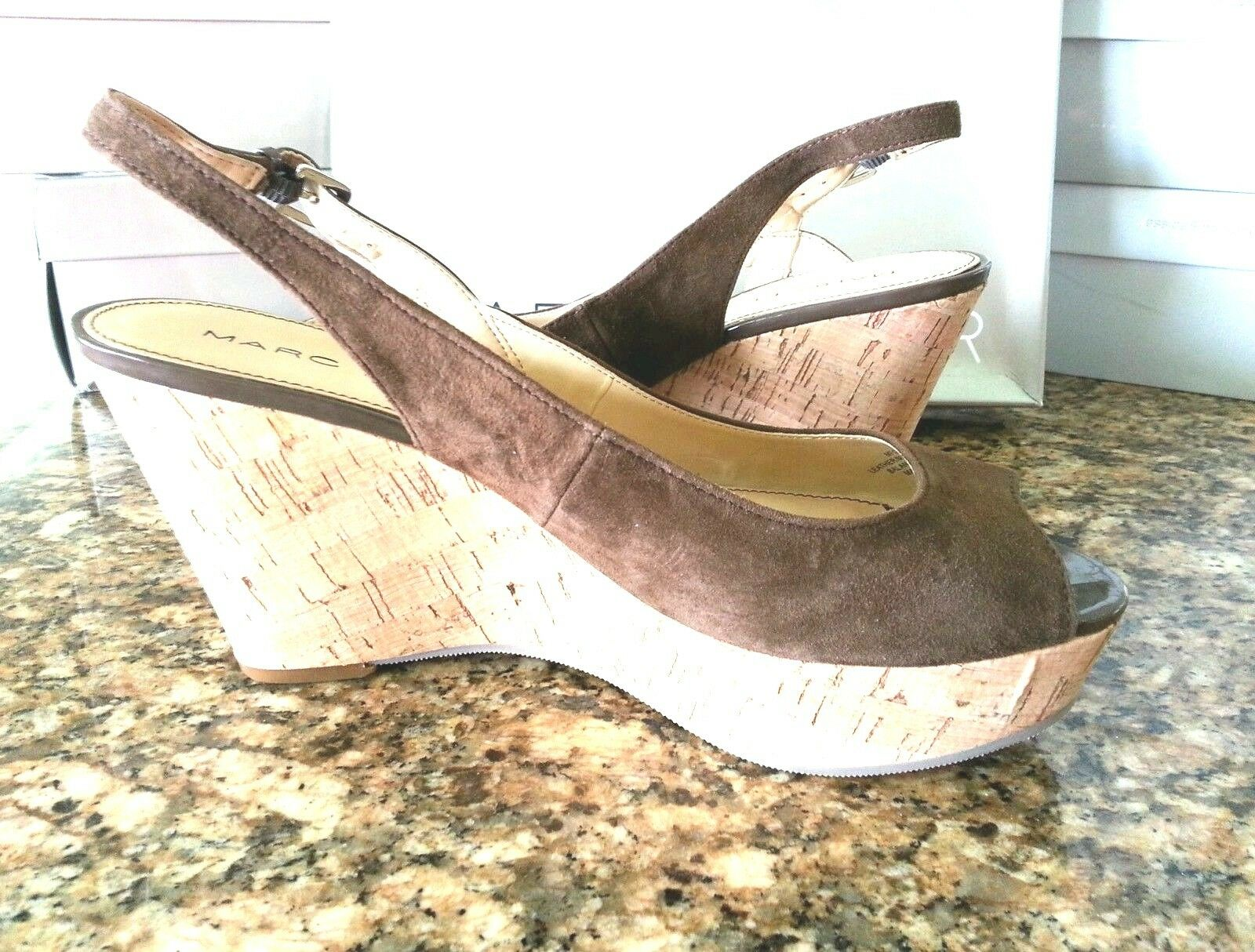 MARC FISHER Braun 9.5 NEW Genoa Braun FISHER Suede Platforms Wedges Slingbacks faux cork heel 00d295