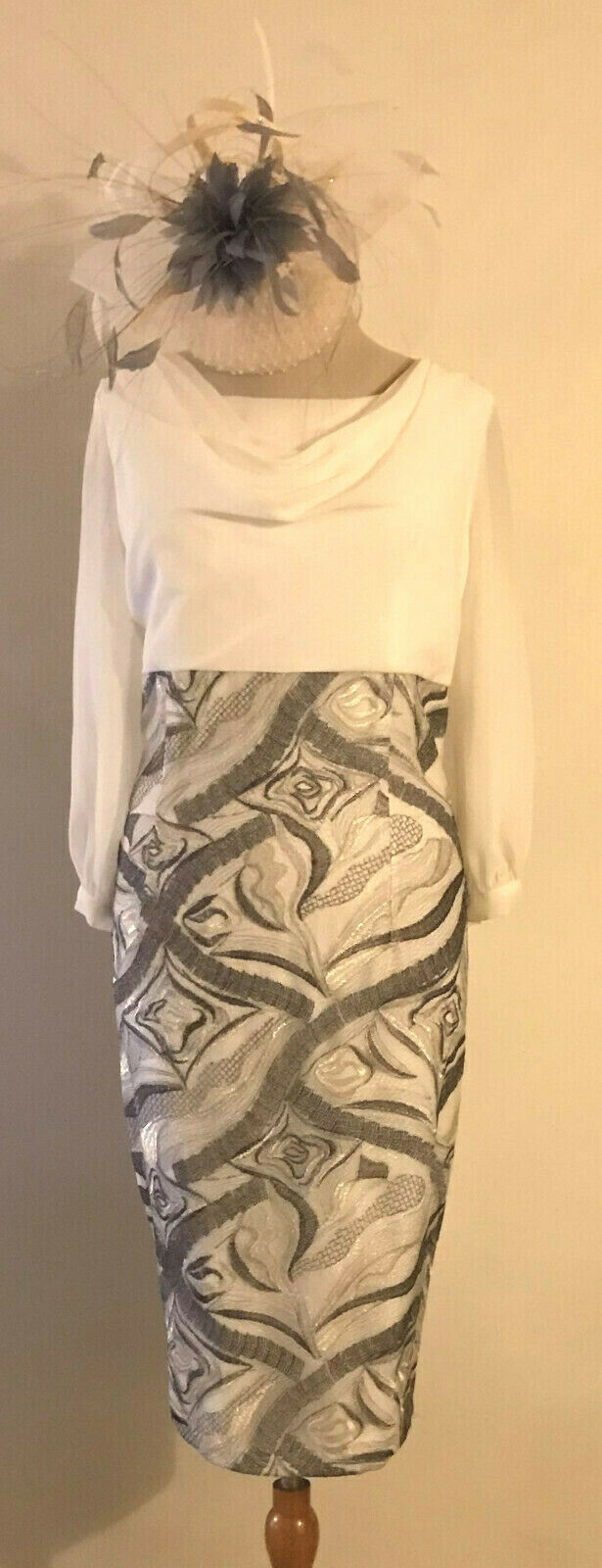 NEW! ZEILA MOTHER OFTHE BRIDE IVORY & GREY DRESS WITH COWL & BACK SASH SIZE 10
