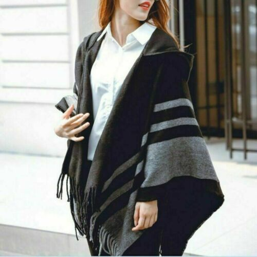 Women Hooded Poncho Scarf Shawl Cape Wrap Stripe Tassel Batwing Sleeve Warm NR9