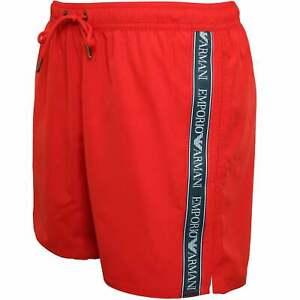 Emporio Armani Logo Cinta Para Hombre Pantalones Cortos De Natacion Arcilla Roja Ebay