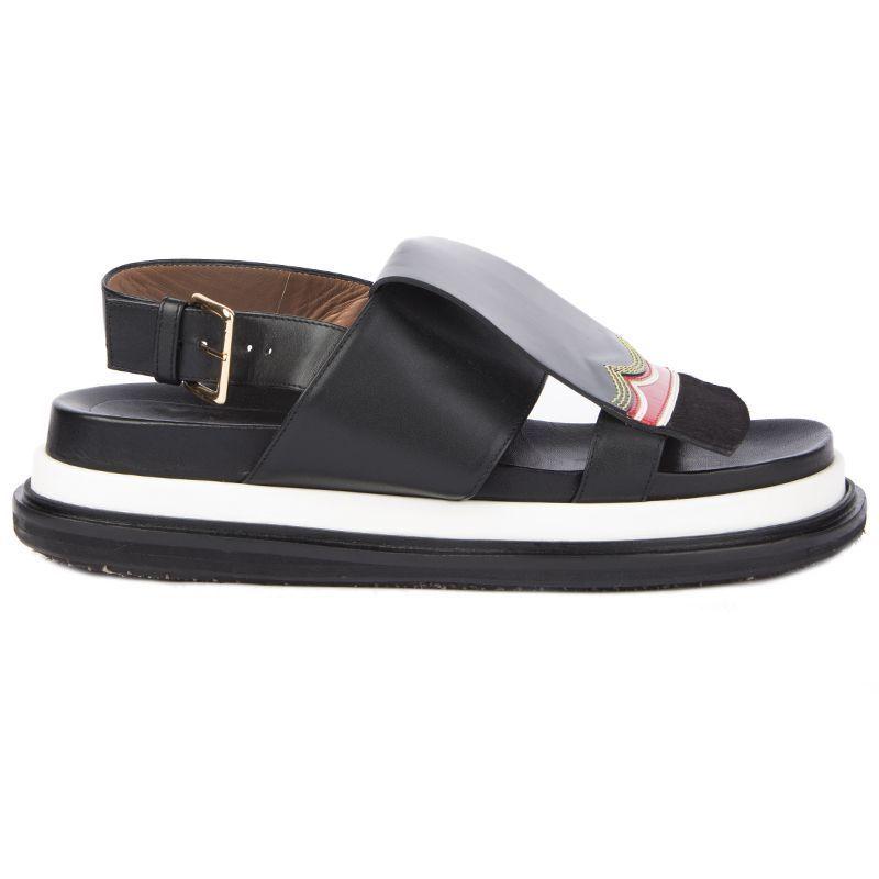 54766 auth MARNI black leather Flat Platform Sandals shoes 41