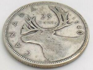 1940-Canada-Twenty-Five-25-Cent-Quarter-Silver-Circulated-George-VI-Coin-K143