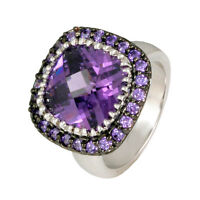 Pave+ 12mm Cushion Cut Amethyst Cubic Zirconia Ring-bridal-aaa Stones