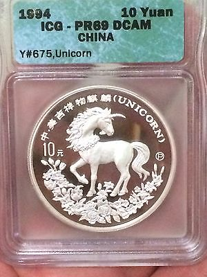 Diligent 1994 China Unicorn Proof Icg Pf69 Silver Coin Asia Coins & Paper Money