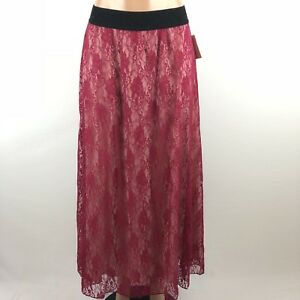 NEW NWT LULAROE LUCY Skirt Long Burgundy Red Lace W/ Nude Underlay Women S