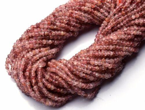 "Natural Rare Gem Strawberry Moss Quartz 4MM Micro Facet Rondelle Beads 13.5/"""