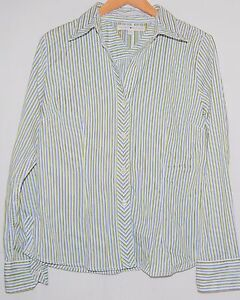 Vintage-Tommy-Hilfiger-Womens-LS-Blouse-Green-Blue-White-Striped-L-Button-Down