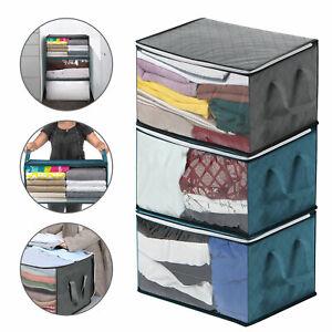 3 PCs Storage Bag Clothes Blanket Quilt Closet Sweater Organizer Box Pouches