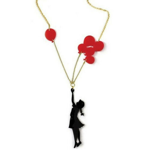 Novelty Balloon Girl Pendant Long Necklace Sweater Chain Women Jewelry Gift L