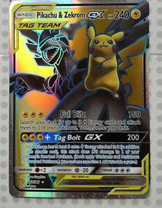 Pokemon-Carte-Pikachu-amp-Zekrom-GX-162-181-Holo-Full-Art-Team-Up-Comme-neuf-proxy-Carte