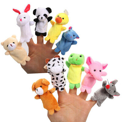 3Pcs Cartoon Finger Puppets Cloth Plush Doll Baby Educational Hand Animal Toys