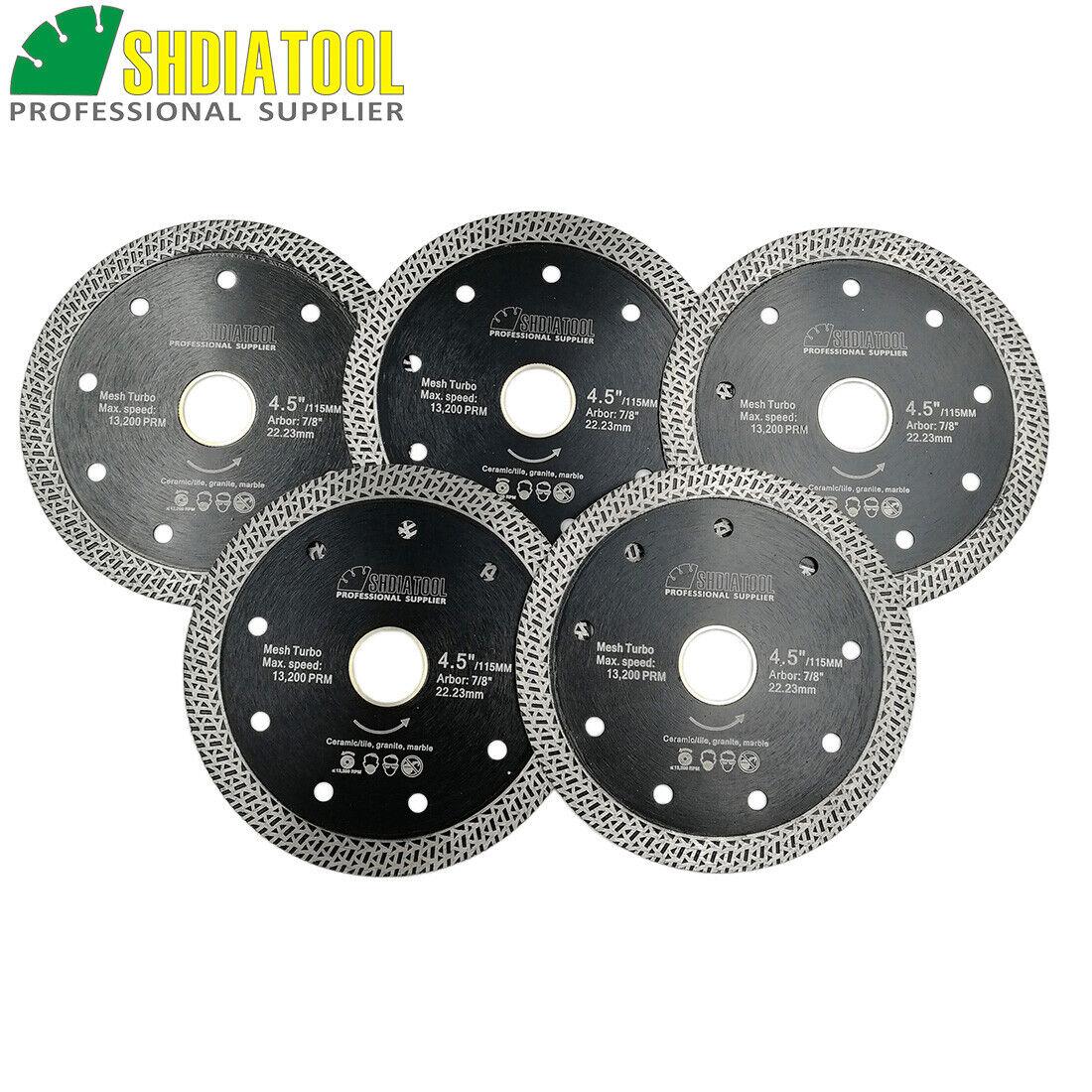 5pcs 4.5  115mm Hot pressed Mesh Turbo  Wheel Diamond Saw Blade Cutting Disc
