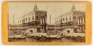 Venezia-Palais-Ducale-Italia-Foto-Stereo-PL56L1n-Vintage-Albumina-c1865