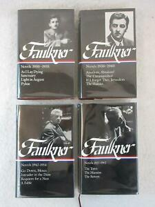 Lot-of-4-WILLIAM-FAULKNER-Novels-LIBRARY-OF-AMERICA-Hardcover-Editions