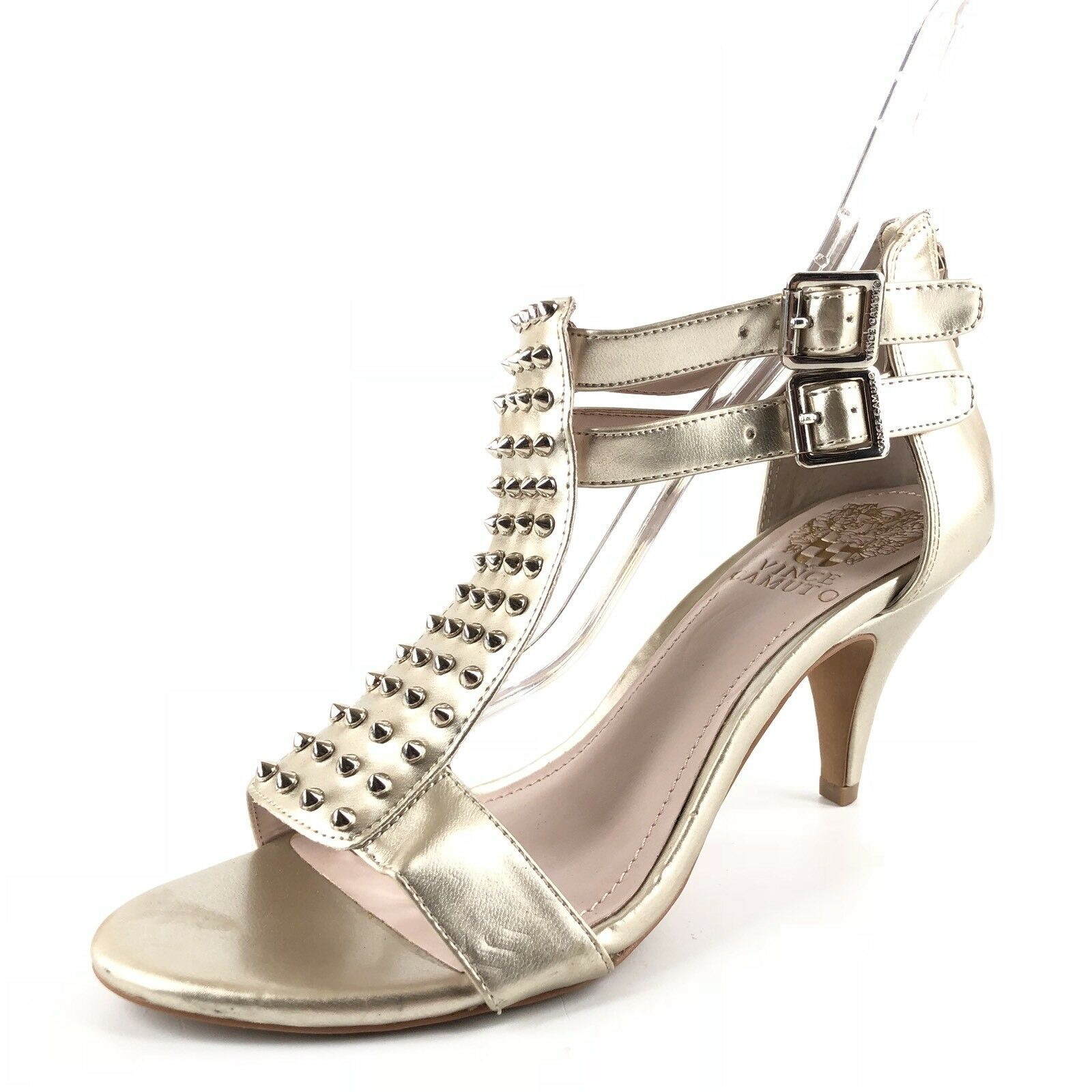 Vince Camuto Minter Platinum Leather Studded Open Toe Sandals Womens Size 6 M