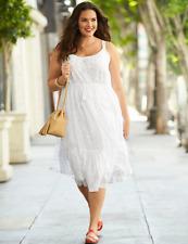 LANE BRYANT PLUS SIZE  Tiered Metallic Dot Dress 26/28 WHITE SUNDRESS