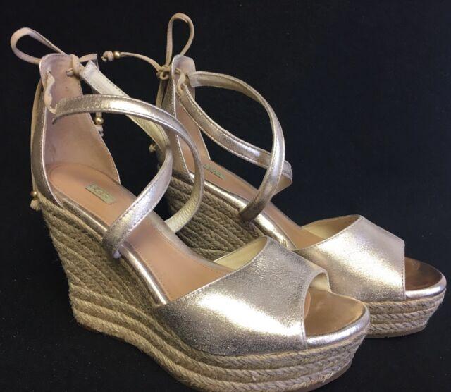 c578a4bea38 UGG Australia Reagan Metallic Peep Toe Strappy Braided Jute Wedge 1017799  Gold