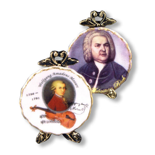 Reutter Porzellan muro piatto Mozart /& Bach PLATE SET BAMBOLE Tube 1:12-1.400//0