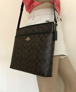 Image Is Loading Nwt Coach Signature Brown Black Crossbody Pvc File