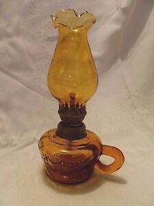 Miniature Amber Glass Oil Lamp With Chimney 7 75 Tall Fruit