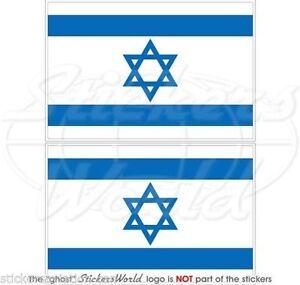 ISRAEL-Israeli-Flag-Jewish-Hebrew-Vinyl-Bumper-Decals-Stickers-3-034-75mm-x2