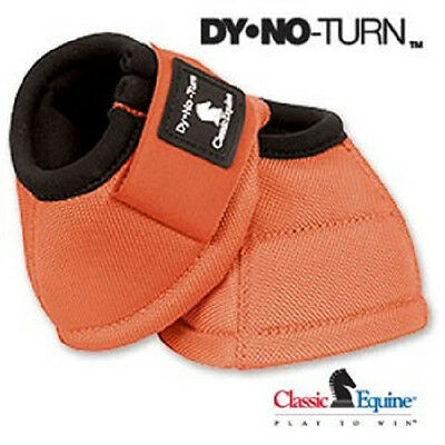 Classic Equine DYNOHYDE 2520D No Turn Bell Boots Horse Tack CORAL ORANGE
