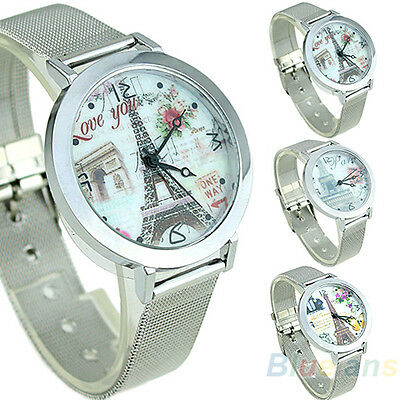 Women's Good Artistic Eiffel Tower Face Silver Band Quartz Wrist Watch B58U