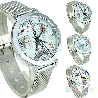 Women's Fashion Casual Beauty Eiffel Tower Case Silver Color Quartz Wrist Watch