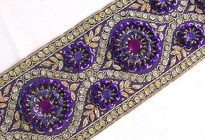 Hand-Beaded Jacquard Trim. Sequins. Violet. Very Wide