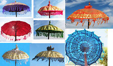 """34"""" diameter colorful fringed fabric PARASOL, hand-made wood Balinese temple new"""