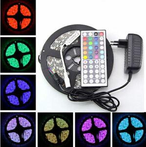 5M-3528-SMD-300-LED-RGB-Flexible-Light-Strip-Lamp-44-key-IR-12V-2A-Power-Supply