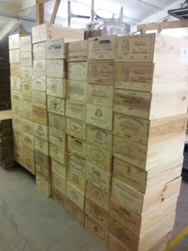 4 X GENUINE 12 BOTTLE LARGE FRENCH WOODEN WINE CRATE STORAGE DISPLAY BOXES.