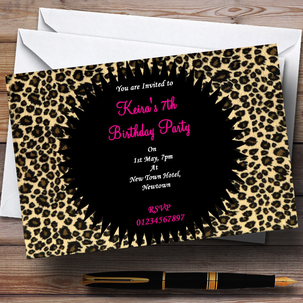 Leopard Leopard Leopard Print Rosa Personalised Party Invitations 518119
