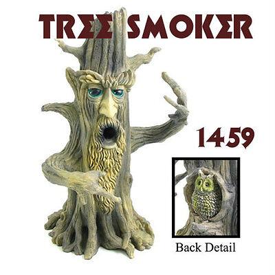 "Tree Smoker Polyresin Brown Smoking Burner. For stick incense. (11"" tall) 1459"