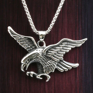 24 mens stainless steel box link chain 3d flying eagle pendant image is loading 24 034 mens stainless steel box link chain aloadofball Choice Image