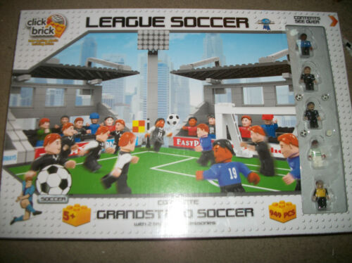 Click Brick Grandstand Soccer over 949 pcs 36 Minis! new Sealed