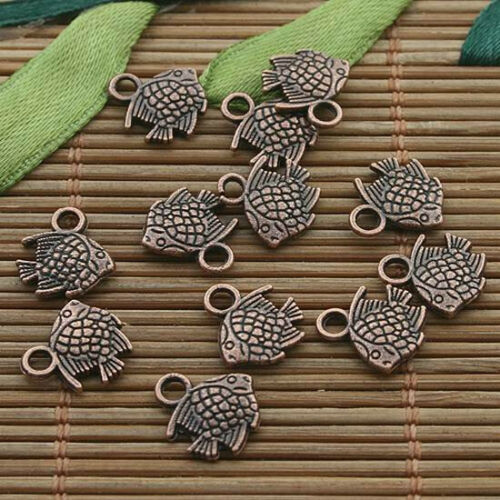 50pcs copper tone sea fish charm h3354