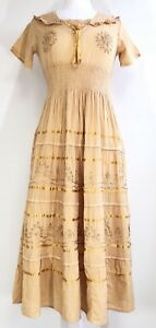 Ladies-Cotton-Boho-Peasant-Crochet-Tiered-Embroidered-Smocked-Maxi-Dress-NWT