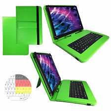 10.1 zoll Qwertz Tablet Tasche Samsung Galaxy Tab A6 Etui Hülle - Tastatur Grün
