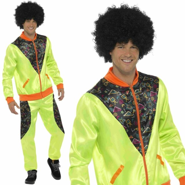 Adult SCOUSER TRACKSUIT Retro 1980s Red Fancy Dress Costume Shell Suit Mens