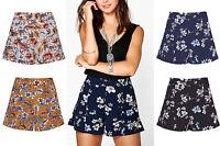 Women Celeb  Cute Floral Print High Waist Side Zip Short Hot Pants Skirt UK 6-14