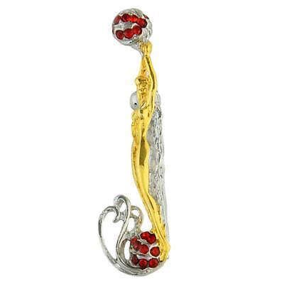 "Erte Design! ""J"" Pendant/Brooch! Solid Gold-Plated Sterling Silver w/Crystals"