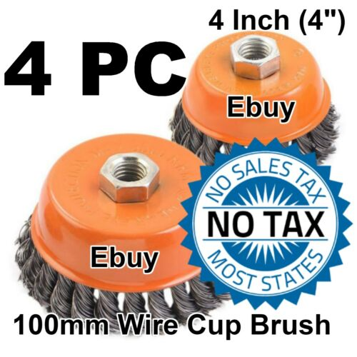 """4 PCS 4/"""" x 5//8/"""" 11NC FINE Knot Wire Cup Brush Twist For Angle Grinder Hoteche"""