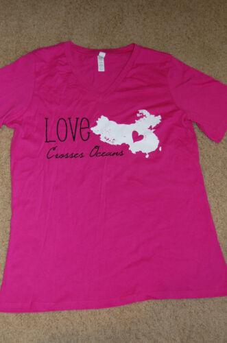 LOVE CROSSES OCEANS I Heart China Adoption Fundraiser T-Shirt Ladies Mens Map