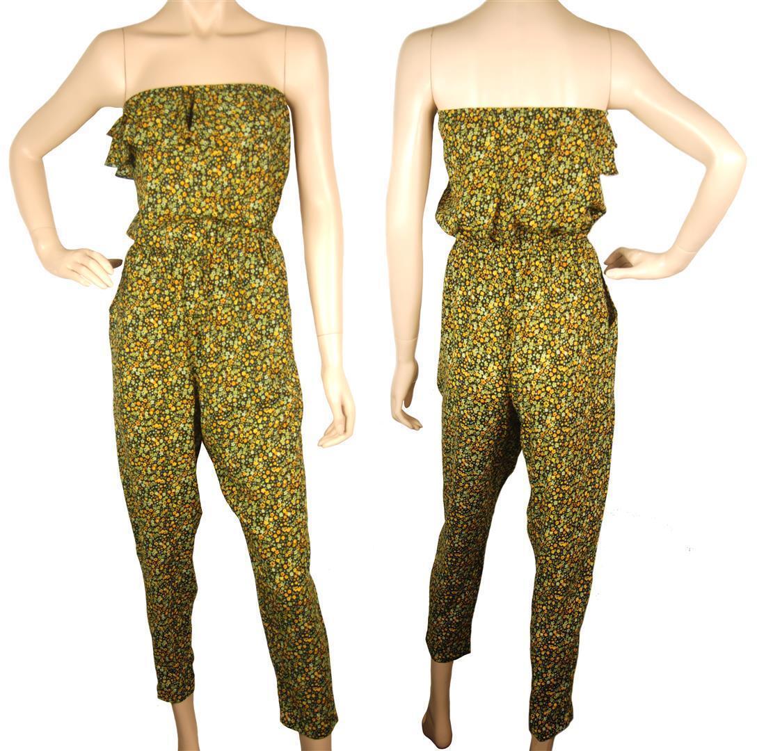ConMiGo J215 off shoulder light yellow gold & light green floral print jumpsuit