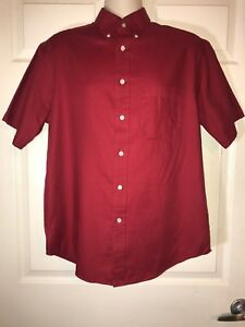 Roundtree-amp-Yorke-Mens-Button-Front-Short-Sleeve-Shirt-Size-M