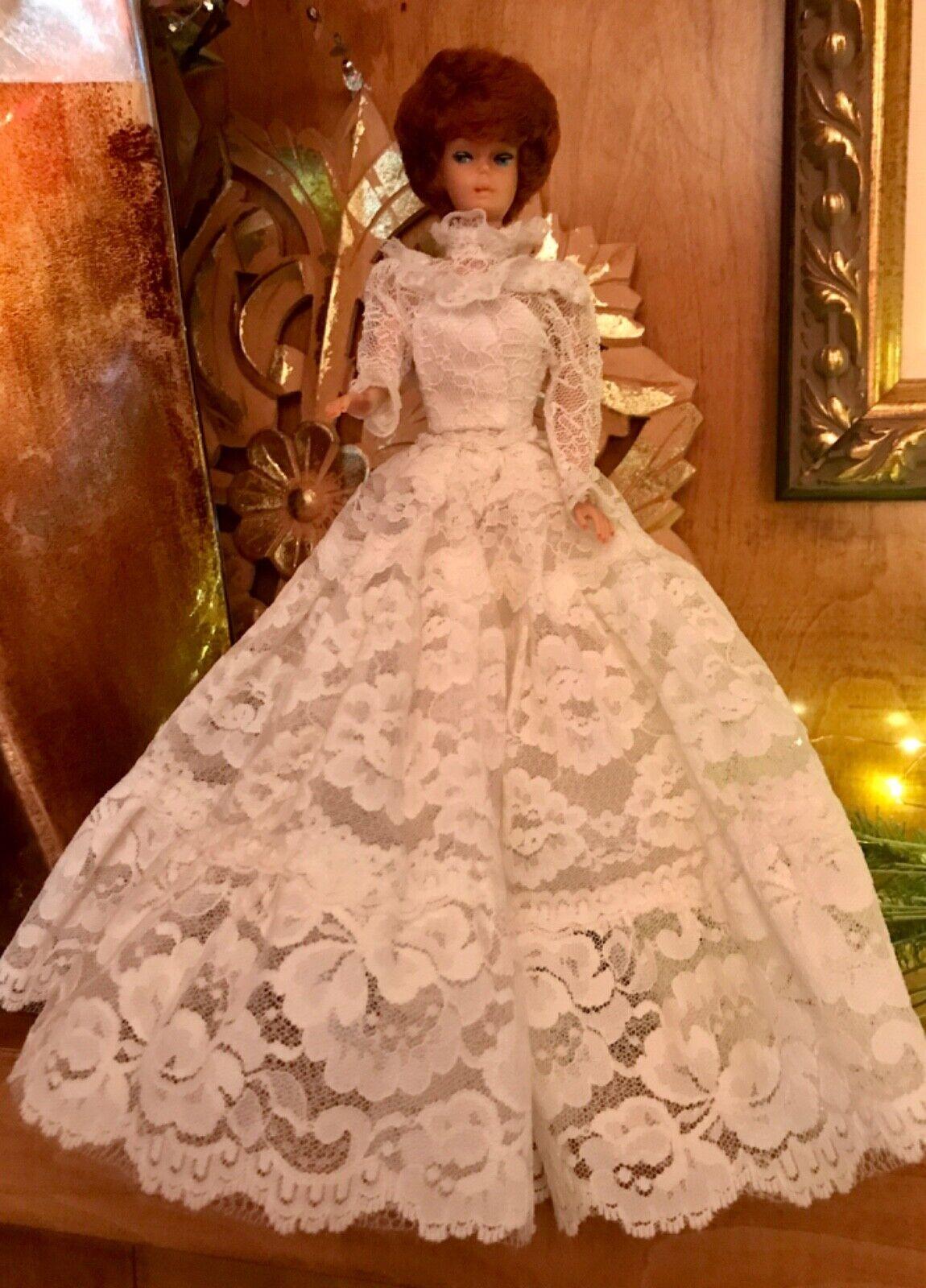 Jahr  10 Barbie  Tracy Bride Weiß wedding dress 1982  4103 + Lace Overskirt