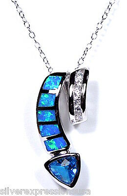 "18"" Italy Necklace 925 Sterling Silver Blue Topaz & Blue Fire Opal Inlay Pendant"