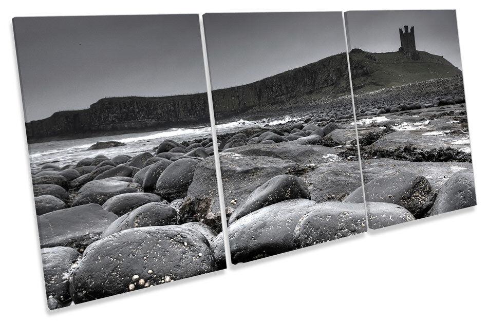 Dunstanburgh Castle Mono  TREBLE CANVAS WALL ART Picture Print