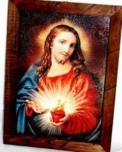 "Painting//print Jesus Crist The Savior El Salvador Mexico art framed 17/""X 13/""Larg"